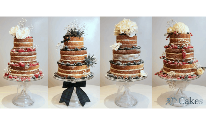Naked Wedding Cake In A Choice Of 4 Styles