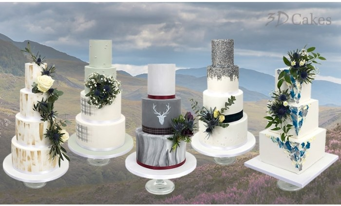 3, 4, 5 or 6 Tier Scottish Wedding Cake; Choice of 5 Designs